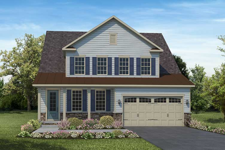 Artist rendering of light blue two-level house with siding and front load garage