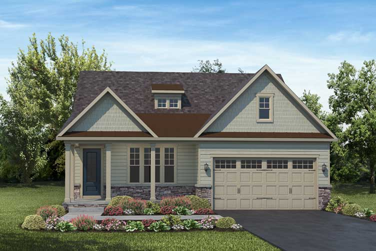 Artist rendering of grey house with siding and front load garage
