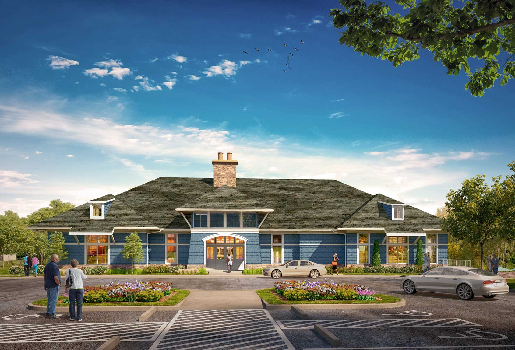 Community clubhouse rendering