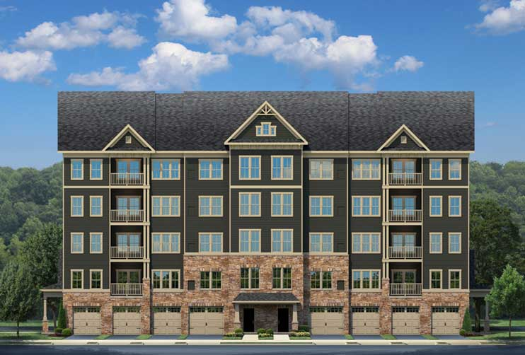 Artist rendering of grey condominium building